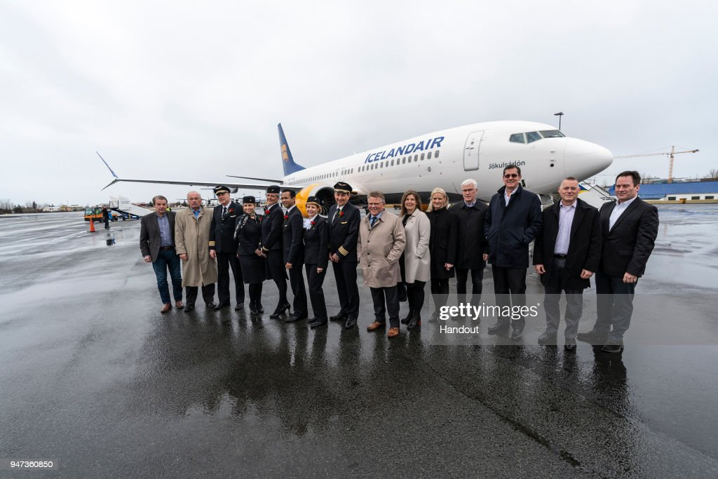 In this handout image provided by Icelandair/The Brooklyn Brothers, Icelandair President and CEO Bjorgolfur Johannsson is joined by Icelandair Group Executive Committee Members, Icelandair pilots and cabin crew as celebratory flight 'Iceland by Air' prepares to take special route over Iceland's spectacular sights to mark the arrival of Icelandair's new Boeing 737 MAX 8 plane on April 14, 2018 in Iceland.