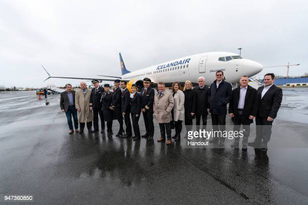 In this handout image provided by Icelandair/The Brooklyn Brothers Icelandair President and CEO Bjorgolfur Johannsson is joined by Icelandair Group...