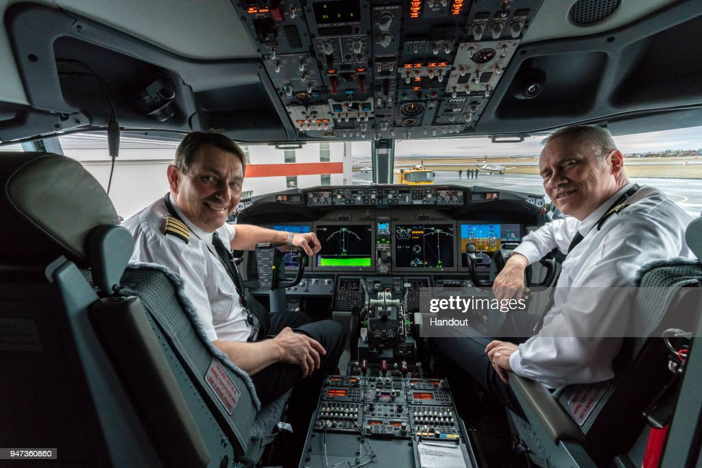In this handout image provided by Icelandair/The Brooklyn Brothers, Icelandair pilots Thorarinn Baldursson and Haraldur Baldursson prepare to fly celebratory flight 'Iceland by Air' on a special route over Iceland's spectacular sights to mark the arrival of Icelandair's new Boeing 737 MAX 8 plane on April 14, 2018 in Iceland.