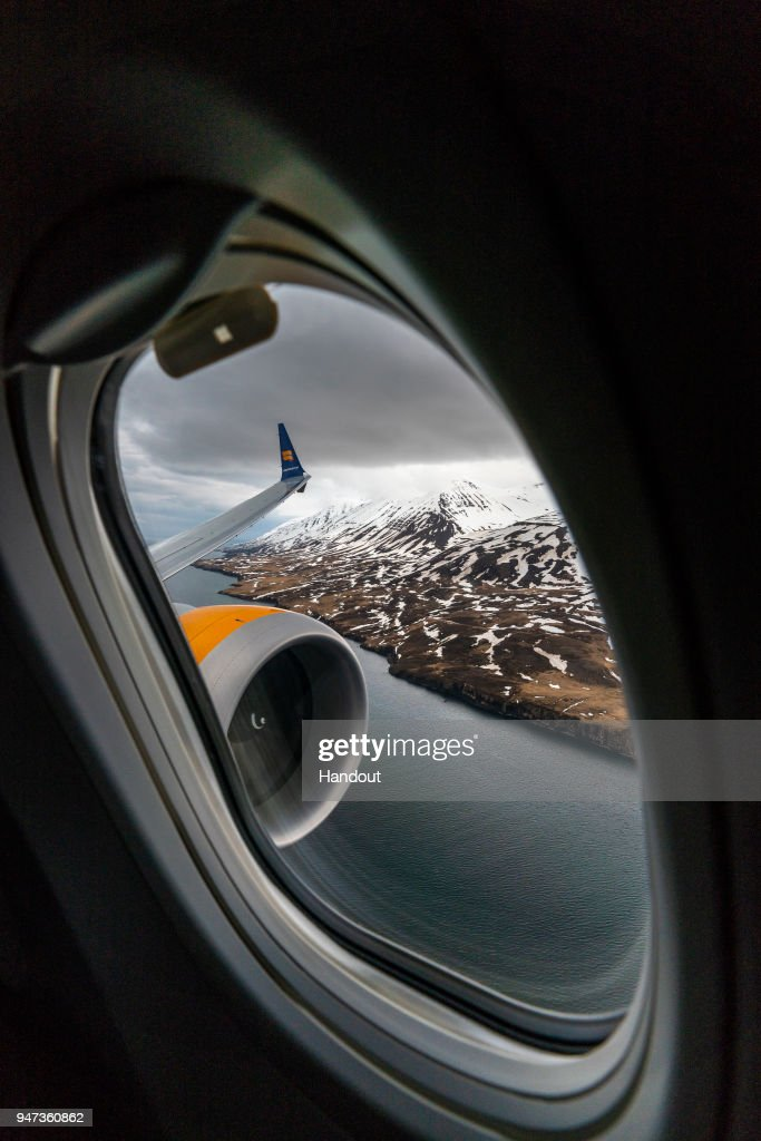 In this handout image provided by Icelandair/The Brooklyn Brothers, Celebratory flight 'Iceland by Air' flies over the mountains east of Eyjafjorou as it takes a special route over Iceland's spectacular sights to mark the arrival of Icelandair's new Boeing 737 MAX 8 plane on April 14, 2018 in Iceland.
