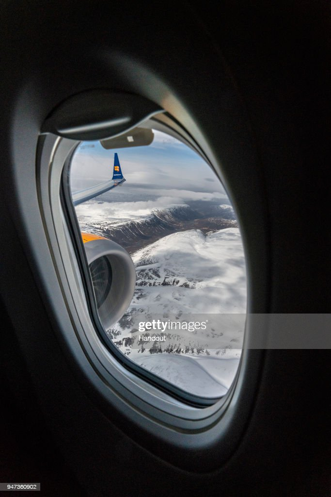 In this handout image provided by Icelandair/The Brooklyn Brothers, Celebratory flight 'Iceland by Air' takes a special route over Iceland's spectacular sights to mark the arrival of Icelandair's new Boeing 737 MAX 8 plane on April 14, 2018 in Iceland.