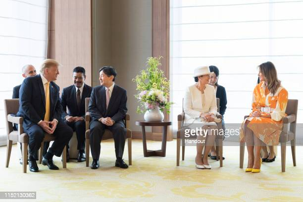 In this handout image provided by Imperial Household Agency Japanese Emperor Naruhito US President Donald Trump Empress Masako and first lady Melania...