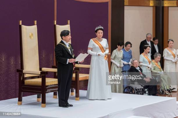 In this handout image provided by Imperial Household Agency, New Japanese Emperor Naruhito delivers his first speech after ascending the throne...