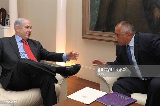 In this handout image provided by Israeli Government Press Office Israel's Prime Minister Benjamin Netanyahu meets with Bulgaria's Prime Minister...