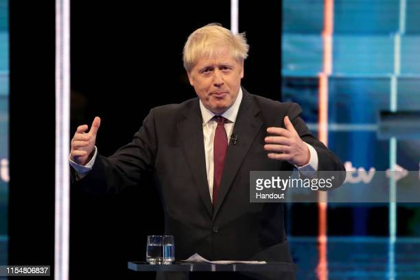 In this handout image provided by ITV, Boris Johnson takes part in the Jeremy Hunt and Boris Johnson debate Head To Head on ITV on July 9, 2019 in...