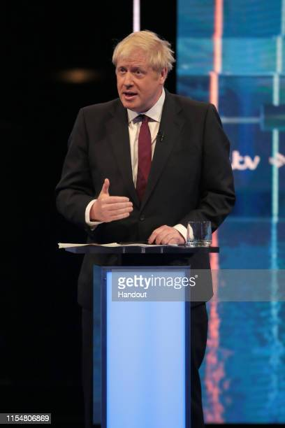 In this handout image provided by ITV Boris Johnson takes part in the Jeremy Hunt and Boris Johnson debate Head To Head on ITV on July 9 2019 in...