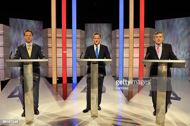 In this handout image provided by ITV1, the first televised general election leaders debate between Gordon Brown of the Labour Party, David Cameron...