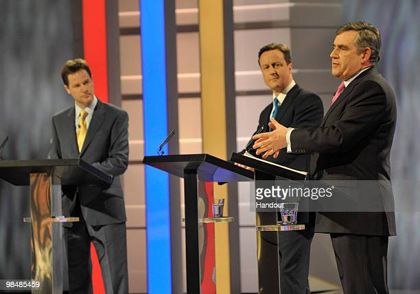 In this handout image provided by ITV1 the first televised general election leaders debate between Gordon Brown of the Labour Party David Cameron of...