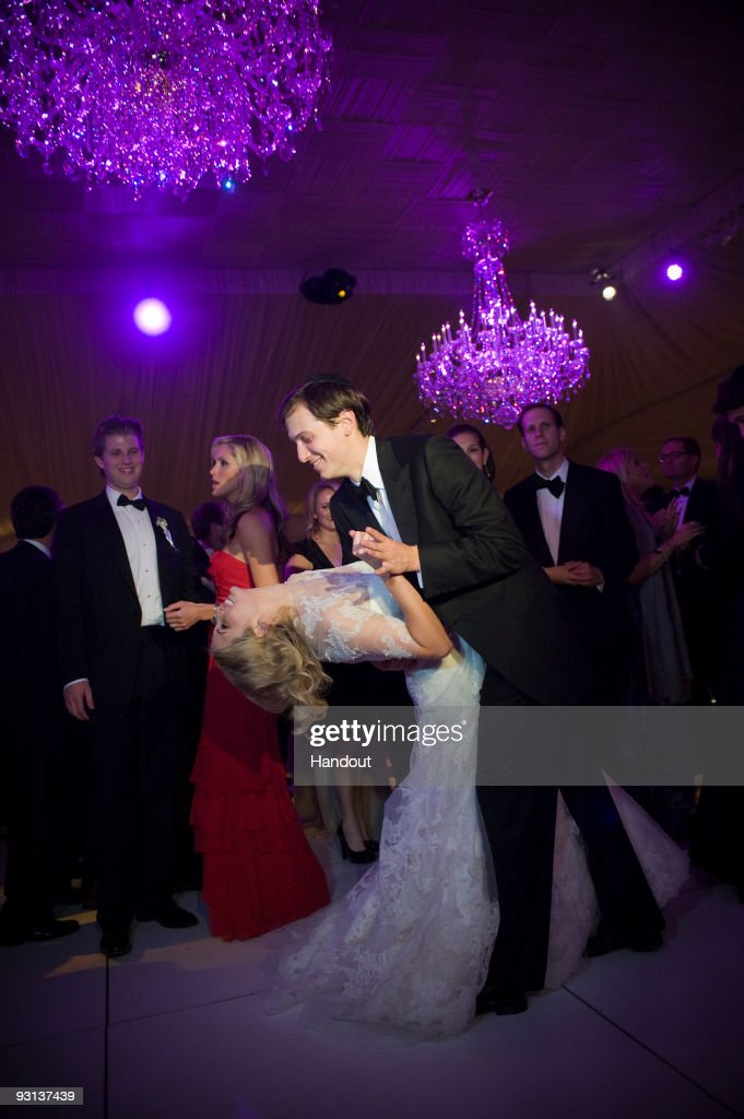 In this handout image provided by Ivanka Trump and Jared Kushner, Ivanka Trump (L) and Jared Kushner (R) attend their wedding at Trump National Golf Club on October 25, 2009 in Bedminster, New Jersey.