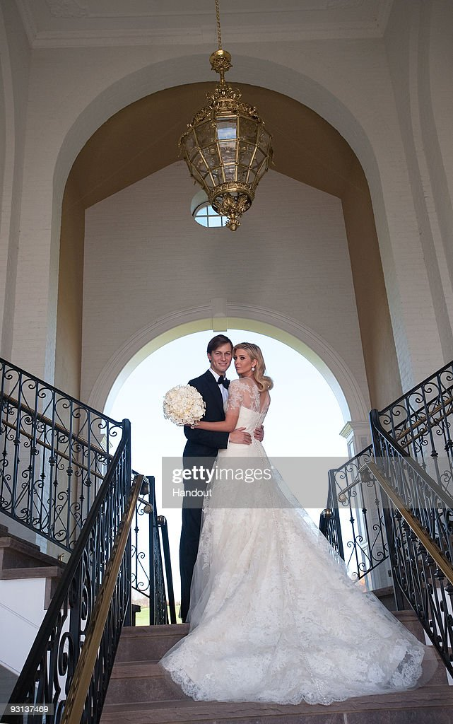 In this handout image provided by Ivanka Trump and Jared Kushner, Ivanka Trump (R) and Jared Kushner (L) attend their wedding at Trump National Golf Club on October 25, 2009 in Bedminster, New Jersey.