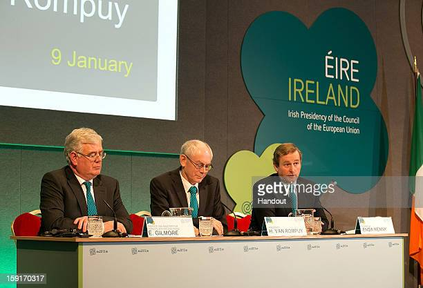 In this handout image provided by Justin MacInnes Herman Van Rompuy President of the European Council with Tanaiste Eamon Gilmore and Taoiseach Enda...