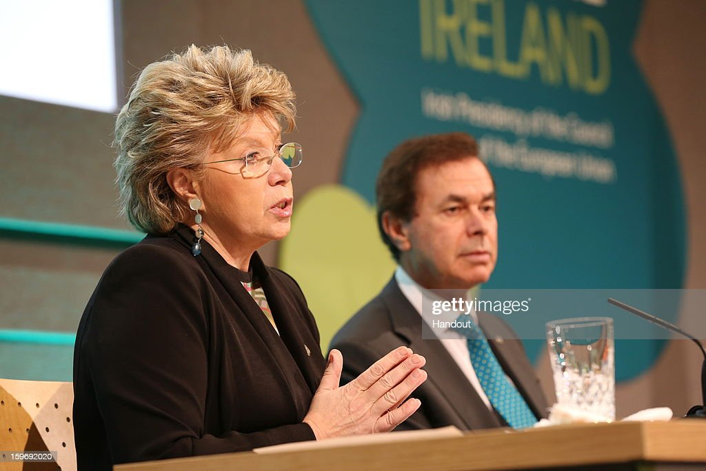 In this handout image provided by Justin MacInnes, Minister for Justice, Equality and Defence, Alan Shatter (R) and Viviane Reding, Vice President of the European Commission speak at the press conference of the Informal Justice and Home Affairs Council meeting as part of Ireland's hosting of the EU Presidency at Dublin Castleon January 18, 2013, Dublin, Ireland.