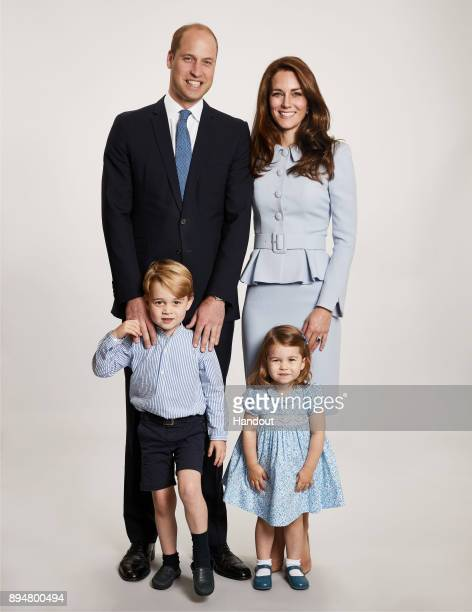 In this handout image provided by Kensington Palace on December 18th Image shows picture used for the Duke and Duchess of Cambridge's 2017 Christmas...