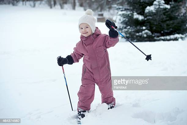 In this handout image provided by Kungahusetse Princess Estelle of Sweden celebrates her 3rd birthday at La Haga Palace on February 23 2015 in Solna...