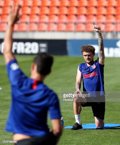 In this handout image provided by LaLiga, Kieran Trippier of Atletico de Madrid works out during a training session on May 19, 2020 in Madrid, Spain....