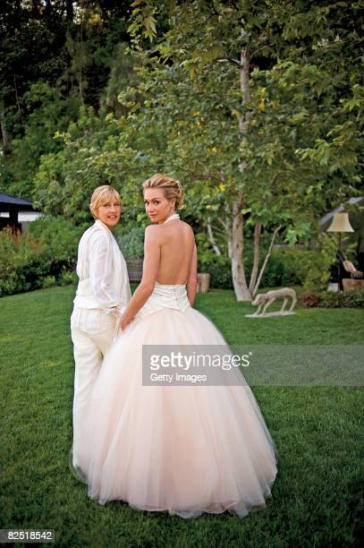 In this handout image provided by Lara Porzak Photography, Comedian Ellen DeGeneres and actress Portia de Rossi pose for photos celebrating their...