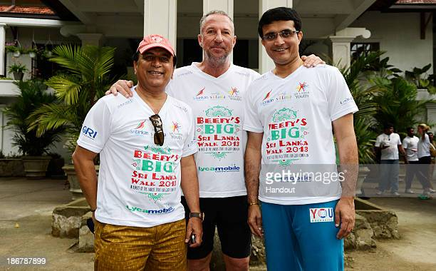 LANKA NOVEMBER 4 In this handout image provided by Laureus Sir Ian Botham with Sourav Ganguly and Sunil Gavaskar before the fourth day of Beefy's Big...