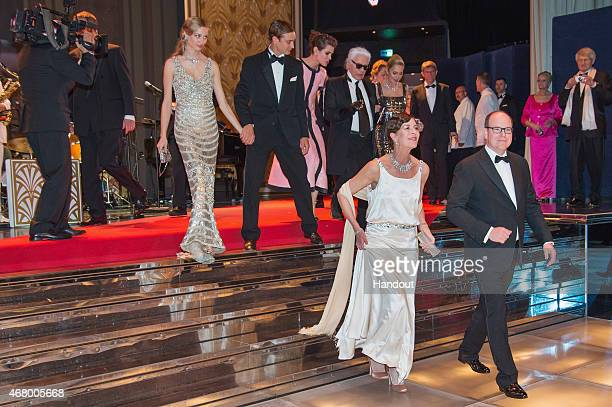 In this handout image provided by Le Palais Princier Beatrice Borromeo Pierre Casiraghi Charlotte Casiraghi Karl Lagerfeld Paola Marzotto Princess...