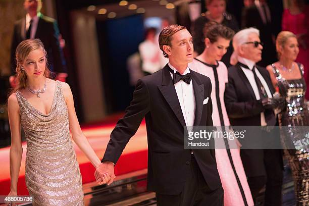 In this handout image provided by Le Palais Princier Beatrice Borromeo Pierre Casiraghi Charlotte Casiraghi Karl Lagerfeld and Paola Marzotto attend...