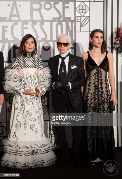 In this handout image provided by Le Palais Princier Caroline of Hanover Karl Lagerfeld and Charlotte Casiraghi attend the Rose Ball 2017 To Benefit...