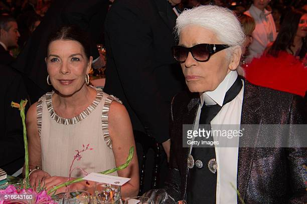 In this handout image provided by Le Palais Princier Princess Caroline of Hanover and Karl Lagerfeld attend The 62nd Rose Ball To Benefit The...