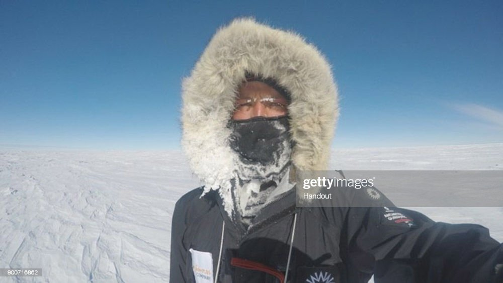 In this handout image provided by Lieutenant Scott Sears, 26 year-old Lieutenant Scott Sears poses for a selfie in a heavily frozen face mask mid-way through his record breaking trek 1130 km solo trek across Antarctica, arriving at the South Pole on Christmas Day, December 25, 2017. Sears who was raising money for the Gurkha Welfare Trust pulled a 100kg sledge in temperatures which dropped to minus 60 degrees centigrade for the 38 days of the journey to become the youngest to complete the journey by three years.