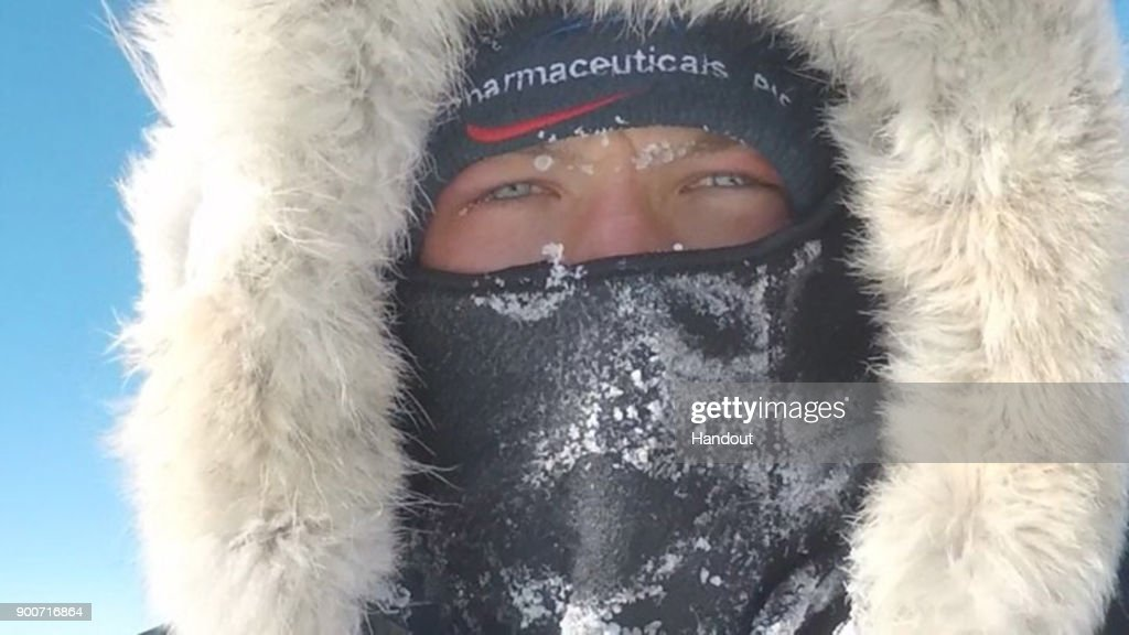 In this handout image provided by Lieutenant Scott Sears, 26 year-old Lieutenant Scott Sears poses for a selfie in a heavily frozen face mask mid-way through his record breaking trek 1130 km solo trek across Antarctica, arriving at the South Pole on Christmas Day, December 25, 2017. Sears who was raising money for the Gurkha Welfare Trust pulled a 100kg sledge in temperatures which dropped to minus 60 degrees centigrade for the 38 days of the journey to become the youngest to complete the journey by three years. (Photo by Scott Sears via Getty Images))