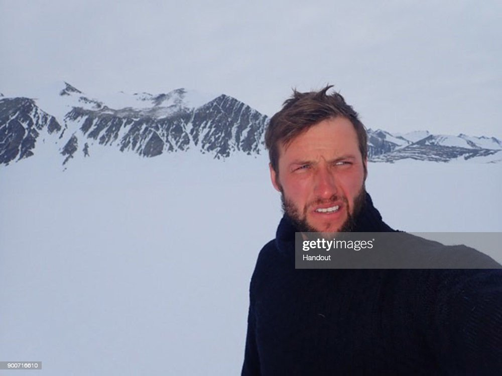 In this handout image provided by Lieutenant Scott Sears, Lieutenant Scott Sears poses for a photo on his return to Union Glacier, Antarctica having completed the 1130 km solo trek to the South Pole and broken the record to become the youngest person ever to do so, arriving at his goal on Christmas Day, December 25, 2017. Sears who was raising money for the Gurkha Welfare Trust pulled a 100kg sledge in temperatures which dropped to minus 60 degrees centigrade for the 38 days of the journey.