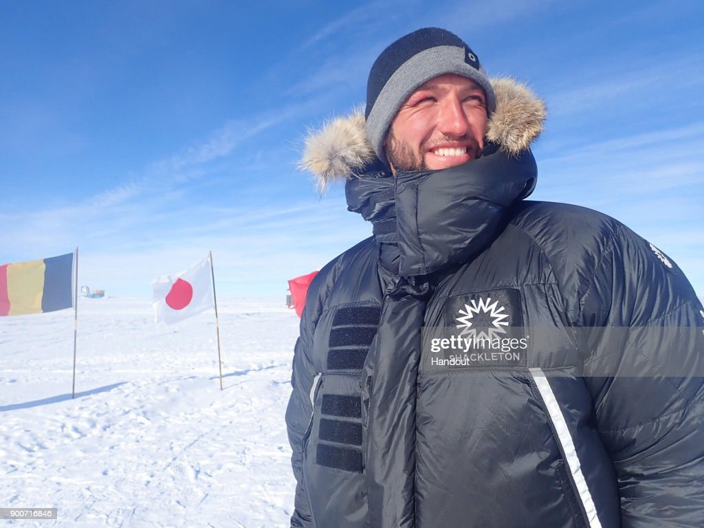 In this handout image provided by Lieutenant Scott Sears, Lieutenant Scott Sears poses for a photo at the South Pole, Antarctica having completed the 1130 km solo trek and become the youngest person ever to do so, arriving at his goal on Christmas Day, December 25, 2017. Sears, who was raising money for the Gurkha Welfare Trust, pulled a 100kg sledge in temperatures which dropped to minus 60 degrees centigrade for the 38 days of the journey.