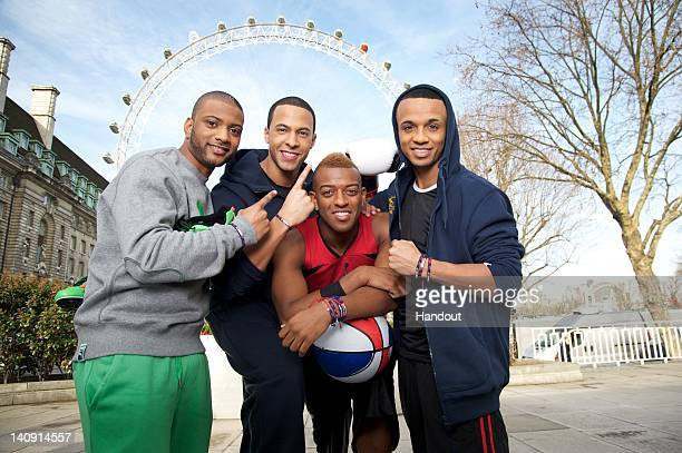 In this handout image provided by Links of London Jonathan 'JB' Gill Marvin Humes Oritse Williams and Aston Merrygold of the band JLS pose for...