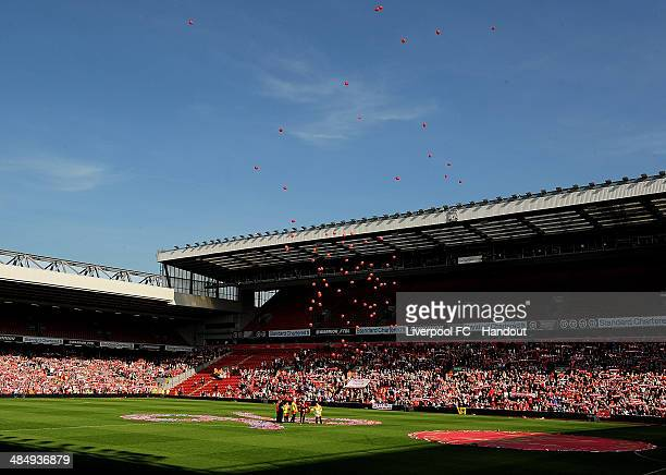 In this handout image provided by Liverpool FC 96 balloons are released during the 25th Hillsborough Anniversary Memorial Service at Anfield on April...