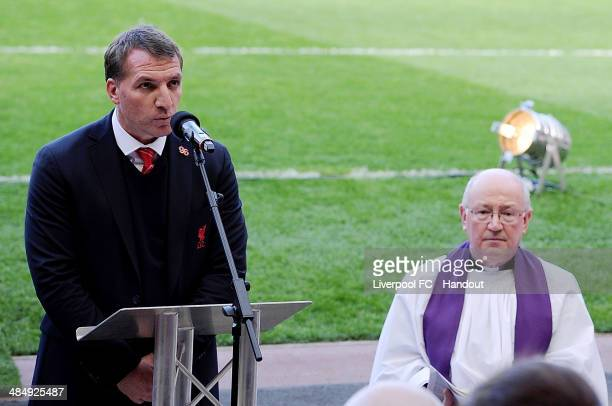 In this handout image provided by Liverpool FC Brendan Rodgers manager of Liverpool speaks during the memorial service marking the 25th anniversary...