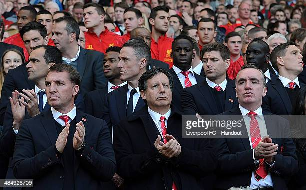 In this handout image provided by Liverpool FC, Brendan Rodgers manager of Liverpool, Chairman Tom Werner and Managing Director Ian Ayre attend the...