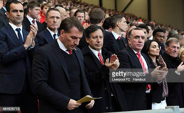 In this handout image provided by Liverpool FC Brendan Rodgers manager of Liverpool Chairman Tom Werner and Managing Director Ian Ayre attend the...