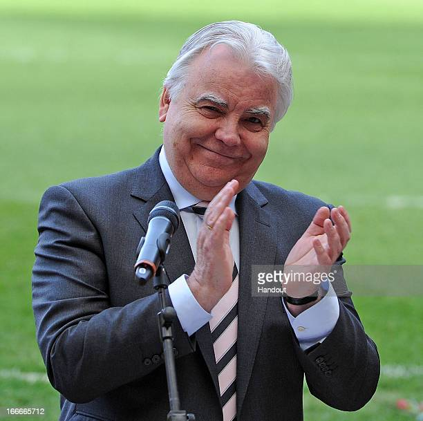 In this handout image provided by Liverpool FC, Chairman Bill Kenwright of Everton reacts as he speaks at the 24th Hillsborough Anniversary Memorial...