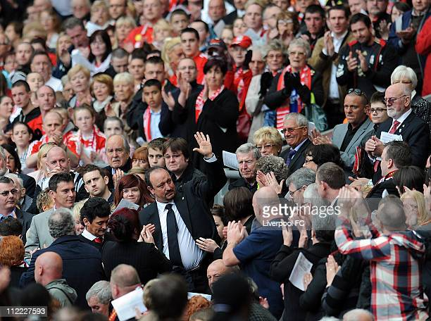 In this handout image provided by Liverpool FC Former Manager Rafael Benitez of Liverpool FC acknowledges the crowd during the Hillsborough memorial...