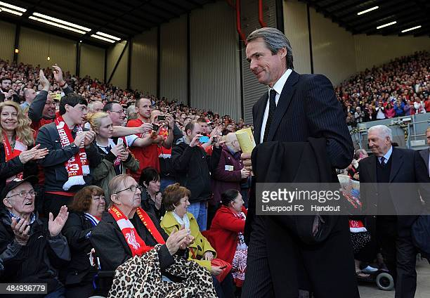 In this handout image provided by Liverpool FC former player Alan Hansen of Liverpool during the 25th Hillsborough Anniversary Memorial Service at...