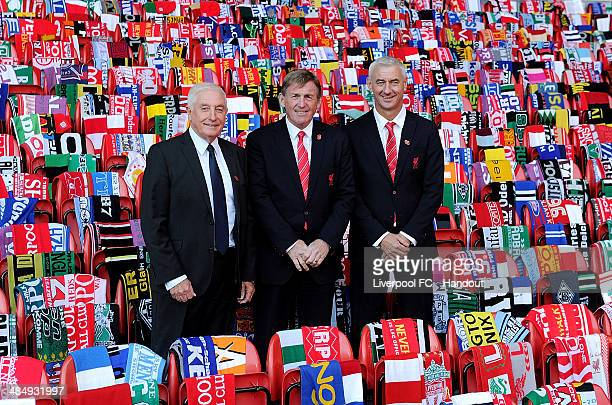 In this handout image provided by Liverpool FC former players Roy Evans Kenny Dalglish and Ian Rush of Liverpool attend the 25th Hillsborough...