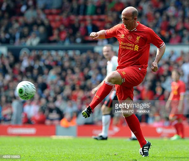In this handout image provided by Liverpool FC Gary McAllister of Liverpool during the celebration of the 96 Charity Match at Anfield on April 21...