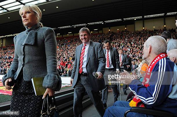 In this handout image provided by Liverpool FC Marina Dalglish manager Kenny Dalglish Charlie Adam and Steven Gerrard attend a memorial service held...