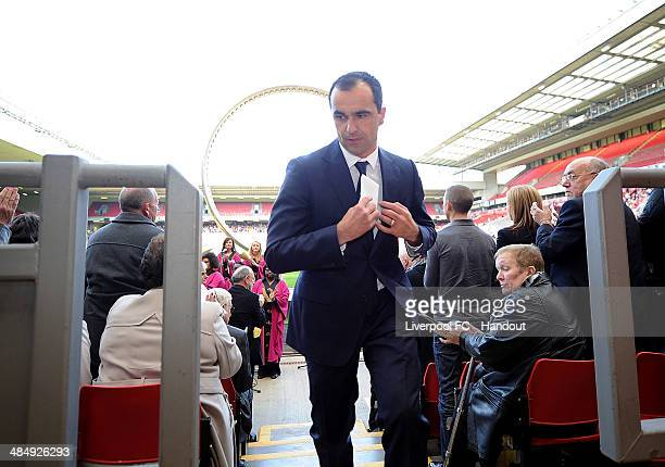 In this handout image provided by Liverpool FC, Roberto Martinez manager of Everton attends the 25th Hillsborough Anniversary Memorial Service at...