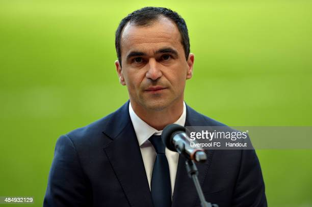 In this handout image provided by Liverpool FC, Roberto Martinez manager of Everton makes a speech during the 25th Hillsborough Anniversary Memorial...