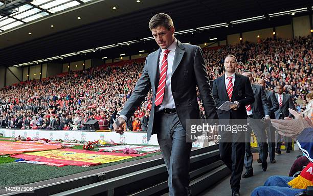 In this handout image provided by Liverpool FC Steven Gerrard of Liverpool attends a memorial service held to mark the 23rd anniversary of the...