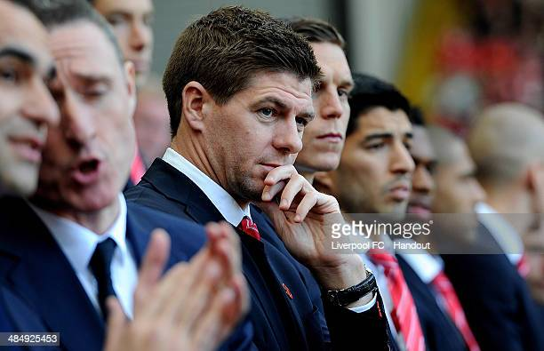 In this handout image provided by Liverpool FC Steven Gerrard of Liverpool attends the memorial service marking the 25th anniversary of the...