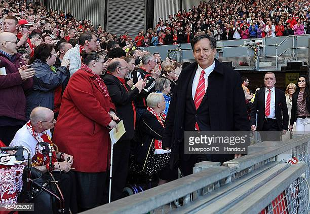 In this handout image provided by Liverpool FC Tom Werner part owner of Liverpool attends the memorial service marking the 25th anniversary of the...