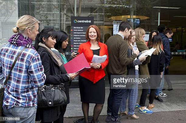 In this handout image provided by Madame Tussauds the wax figure of former Australian Prime Minister Julia Gillard is seen in a job centre line on...