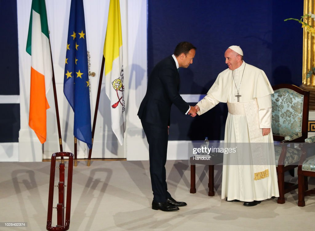 Pope Francis Meets Dignitaries At  Dublin Castle