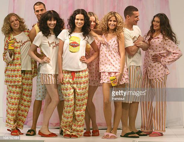 In this handout image provided by Melbourne Spring Fashion Week Models showcase designs by Peter Alexander at the Slumber in the City lunch series...