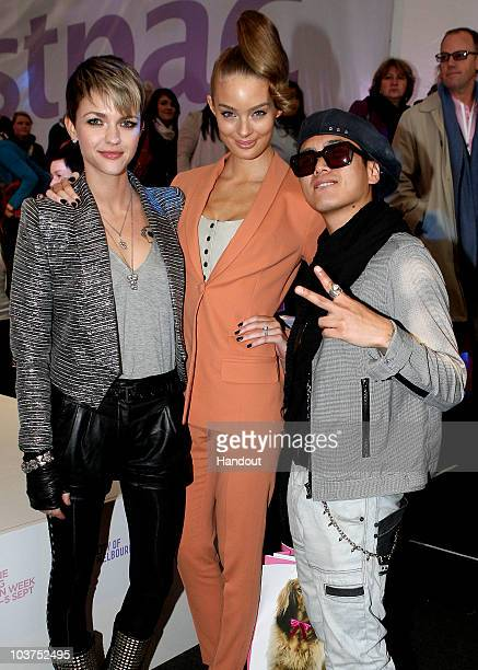 In this handout image provided by Melbourne Spring Fashion Week Ruby Rose Lucy McIntosh and DJ Poet pose at the Slumber in the City lunch series...