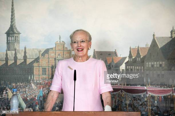 In this handout image provided by MEW and The National History Museum Queen Margrethe of Denmark during the unveiling of a portrait of Crown Prince...